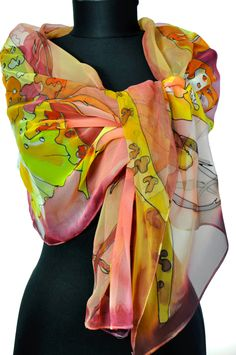 Hand painted silk scarf/Orchids in orange/Silk chiffon scarf/Woman long scarf/Purfect gift for woman/Painting silk shawl/Painting flowers by GABYGA on Etsy