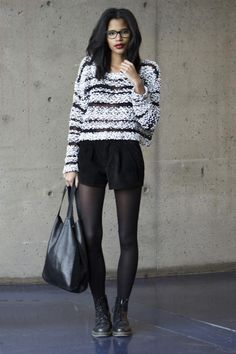 Shop this look on Kaleidoscope (sweater, shorts, boots) http://kalei.do/XHMcnmgYNf1uCTrS