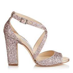 JIMMY CHOO CARRIE 100 Tea Rose Metallic Coarse Glitter Fabric Peep Toe Sandals. #jimmychoo #shoes #s