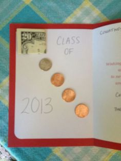 Adorable way to give money in a graduation card Class of 2013 by sophia Graduation Celebration, Graduation Party Decor, Grad Gifts, Graduation Cards, Grad Parties, Party Gifts, Teacher Gifts, Diy Gifts, Craft Ideas