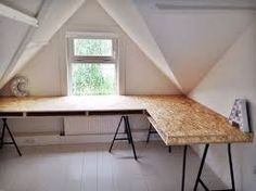 34 Ideas for plywood furniture office design Diy Office Desk, Home Office Furniture Desk, Loft Office, Plywood Furniture, Table Furniture, Plywood Desk, Homemade Desk, Osb Wood, Home Office Design