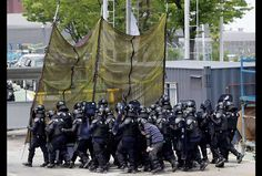 Police anti émeutes en Corée du Sud