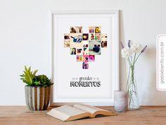 Poster Grandes Momentos - decoração, poster, quadro, instagram, personalizado, coração, fotos