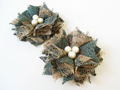 Green Lace Fabric Flower Hair Clips Women Accessories by nurichant #hairaccessories #hairclips