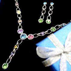 Mehrfarben runden Kristall mit Geschenk-Kasten-Ohr Überzug-Halsketten-Satz NS2344A