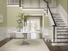 Sherwin-Williams-Gray Mirage barely hints at green Dining room Office Paint Colors, Foyer Colors, Green Dining Room, Floor Molding, Retro Appliances, Stair Decor, Grey Paint, Color Trends, House Colors