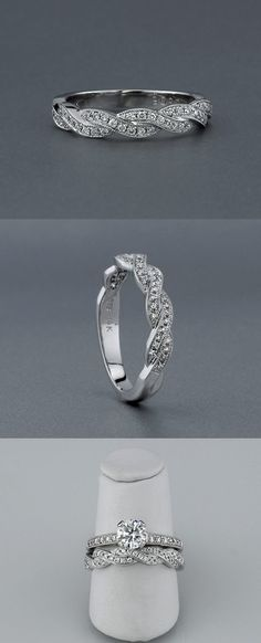 Martinique Twisted Diamond Wedding Band made in 14K white or yellow gold and platinum