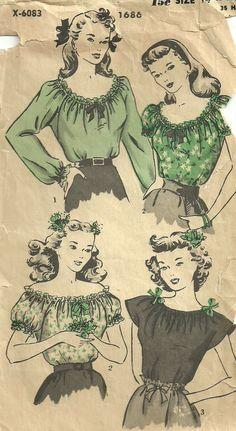 Vintage 40s Sewing Pattern Hollywood 1686 door studioGpatterns, $12.50