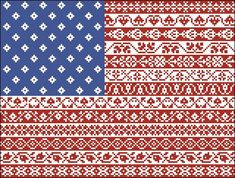 American Flag Cross Stitch Pattern Stars and Stripes Repeating Borders Design Cross Stitch Borders, Counted Cross Stitch Patterns, Cross Stitch Designs, Cross Stitching, Cross Stitch Embroidery, Hardanger Embroidery, Shirt Embroidery, Loom Beading, Beading Patterns