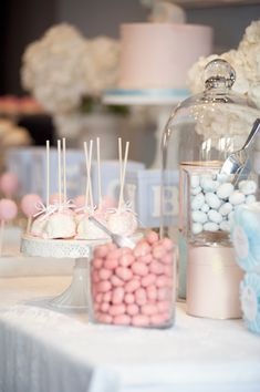 Love the colored candies in glass jars! Pink and Blue Baby Shower - On to Baby