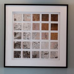 Grid Of Birch Bark Collage. Do this with leaves, vintage fabrics, postcards, etc.