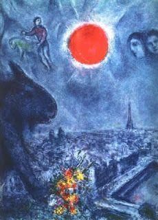 1975 The Sun of Paris, Marc Chagall (Liozna, Belarus Saint Paul de Vence, France) Marc Chagall, Artist Chagall, Chagall Paintings, Art Paintings, Joan Miro, Pablo Picasso, Matisse, Arte Judaica, Francis Picabia
