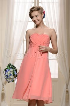 Dresswe.com SUPPLIES Graceful Pleats Ribbons/Sashes A-Line Strapless Knee-Length Bridesmaid Dress 2013 Bridesmaid Dresses