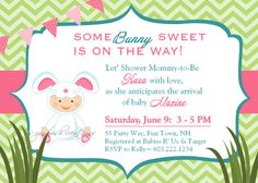 Bunny Baby Shower Invitation Chevron Pink by AsYouWishCreations4u, $14.00