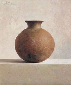 Henk Helmantel Still Life Images, Still Life Art, Realistic Paintings, Easy Paintings, Oil Painting Materials, Classical Realism, Round Vase, Still Life Oil Painting, Terracota