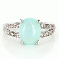 Vintage 14 Karat White Gold Diamond Jelly Opal Cocktail Ring Fine Estate Jewelry