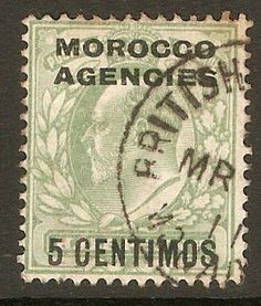Morocco Agencies 1907 5c on ½d Pale yellowish green. SG112.