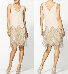 Sabine white beaded flapper dress