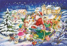 Interlitho, Michele, CHRISTMAS SANTA, SNOWMAN, paintings, santa, sleigh, market(KL2204,#X#) Weihnachtsmänner, Schneemänner, Weihnachen, Papá Noel, muñecos de nieve, Navidad, illustrations, pinturas