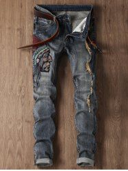 Ripped Tribal Embroidery Design Cuffed Jeans - BLUE