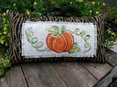 NEW! Lumbar, Zebra Print,  Burlap, Pumpkin,  Halloween, Holidays, Hand-painted…