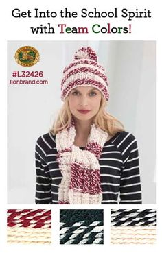 Get inspired by team and school colors in Hometown USA and Wool-Ease Thick & Quick! School Spirit afghans and lapghans make great gifts!