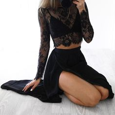 Black Lace Two Pieces Long Sleeve Sexy Side Slit Long Prom Dress, WG725