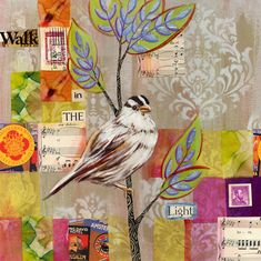 Walk in the Light 8x8 inch Archival Print on Panel by LinneaTobias (Art & Collectibles, Prints, sparrow painting, sparrow print, sparrow art, garden art, linnea tobias, archival print, 8x8 inch print, bird print, bird art, collage, mixed media, inspirational art, linnea tobias art)