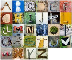 """Abecedario fotográfico """"ENCONTRADO"""", hecho a partir de objetos y cosas encontradas que parecen letras"""