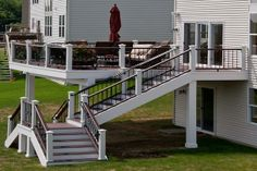 Trex Deck with Custom Stairs in West Dundee built by Rock Solid Builders, Inc.