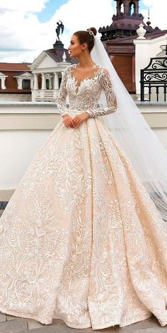 30 Ball Gown Wedding Dresses Fit For A Queen ❤ ball gown wedding dresses lace blush sweetheart neckline long sleeves crystal design official ❤ See more: http://www.weddingforward.com/ball-gown-wedding-dresses/ #weddingforward #wedding #bride