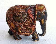 Beautiful Wood Elephant Figurine Carved Statue Handmade Painted Sculpture India