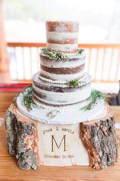 Rustic naked wedding cake @tscupcakes