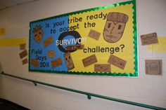 Bulletin Boards for Physical Education School Decorations, School Themes, Classroom Themes, Survivor Challenges, Survivor Theme, Physical Education Lessons, Physical Science, Challenge Images, Camping Bulletin Boards