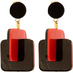 Marni Red Horn Square Earrings ($250) ❤ liked on Polyvore featuring jewelry, earrings, joias, circle earrings, red jewelry, deco earrings, red clip earrings and stud earrings