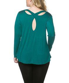 Jade Cross-Back Cutout Top - Plus by Serene Blue #zulily #zulilyfinds