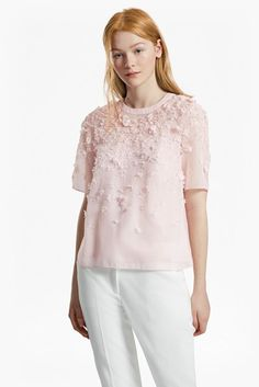 Agnes Floral Applique Top powder pink short sleeve $168 | French Connection