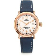 Shinola Runwell Rose Goldtone Stainless Steel & Leather Strap Watch ($625) ❤ liked on Polyvore featuring jewelry, watches, apparel & accessories, multicolored, multicolor jewelry, white faced watches, bezel watches, rose gold tone watches and white dial watches
