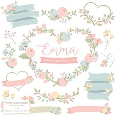 64 Awesome pastel flowers clipart