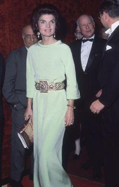 Jacqueline Kennedy Attending The Metropolitan Opera Lincoln Center New York City She Wears A Long Water Green Silk Evening Dress With Gold Belt