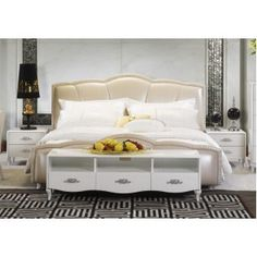 Clover Elegant Bed with Champagne Pearl Leather Upholstery
