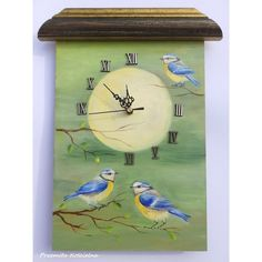 BIRDS PAINTED CLOCK Blue Tit Wildlife Original Oil Painting, Hand... ($60) ❤ liked on Polyvore featuring home, home decor, wall art, wildlife oil paintings, blue bird wall art, painted wall art, heart home decor and heart wall art