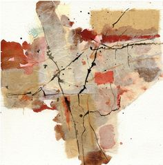 joan gillmansmith, collage of rice paper, watercolor and ink 8x8 inches.