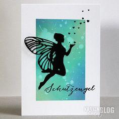 Aquarellpapier mitInkadinkado Stamping Mask Paper 12,7 x 17,8 cmmaskieren und mit Distress Oxide StempelkissenundRanger Ink Blending Tooleinfärben. Mit einem Pinsel etwas Wasser aufspritzen und einem Tuch die angelöste Farbe abtupfen.Karten-Kunst Stanzschablone - Flying Fairyaus schwarzem Papier ausstanzen und aufkleben... #Cardmaking #diecutting #Elfe #Fee #Flying Fairy #Karten-Kunst-Stempel #Kartenbasteln #Kartendesign #Kartenkunstshop #Papercraft #Schut Elfen Tattoo, Mask Paper, Lavinia Stamps Cards, Stamping Up, Clear Stamps, Fairy Girls, Crafts, Colors, Homemade Cards