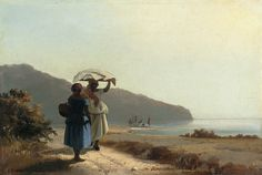 Two Women Chatting by the Sea, St. Thomas by Camille Pissarro