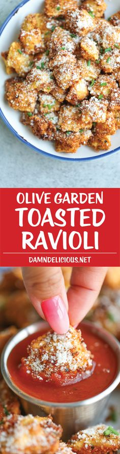 Olive Garden Toasted Ravioli - Everyone' FAVORITE appetizer easily made at home with half the calories and fat - it's healthier and tastier of course! (Bake Pasta With Meatballs) Appetizer Recipes, Dinner Recipes, Party Appetizers, Toasted Ravioli, Vegetarian Recipes, Cooking Recipes, Pasta Recipes, Restaurant Recipes, Side Dishes
