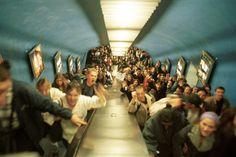 John Vink FRANCE. Paris. 11th arrondissement. 15/10/98. High school students' demonstration. Demonstrators in metro station, arriving at Place de la Nation.