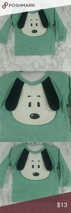 Green Puppy Sweatshirt. Kids Adorable green puppy Sweatshirt. Long sleeves.  Snaps close on the back shoulder.  Refer to images.  This item is brand new and never used. No tags Shirts & Tops Tees - Long Sleeve