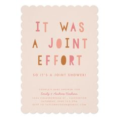 Joint Effort Couple's Baby Shower Invitation Blush