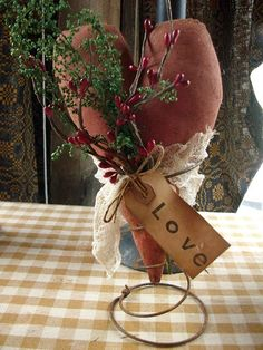 Primitive Valentines Heart On Old Rusty Spring by oldgoatprims, $10.00